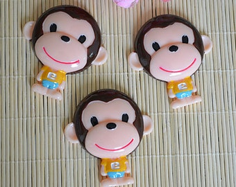 5pcs DIY Big Monkey Kawaii flat back resin cabochon Cartoon Decoden supplies