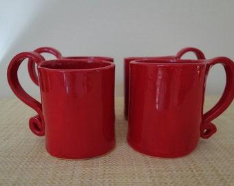 Red Coffee Mugs - Set of Four - Handmade Pottery