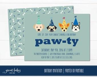 Dog Birthday Invitation, Doggie Birthday Party, Puppy Party, Puppy Birthday Invite, Animal Party, Pet Party, Birthday Boy, First Birthday