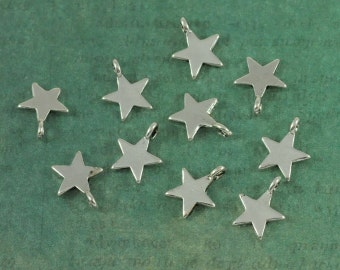 Silver Star Charm Tags - Package of 10