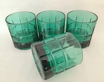 ANCHOR HOCKING TARTAN Drinking Glasses - Green Tartan Whiskey Old Fashioned Drinking Glasses