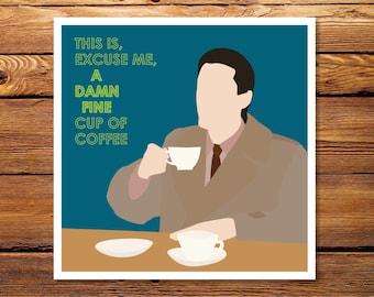 "Twin Peaks Damn Fine Coffee - Agent Cooper 8x8"" Giclee Print"