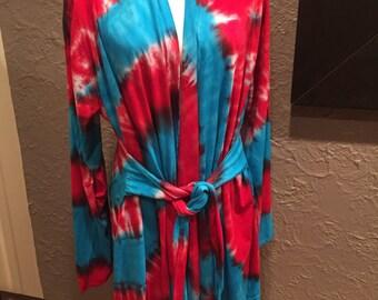 Tye dye bathrobe, hand dyed bathrobe, jersey 100% cotton tie dye bathrobe, red and turquoise tie dye robe
