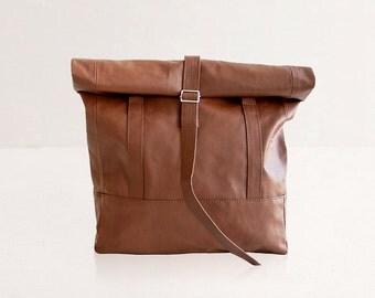 Brown Backpack to Tote Bag, Vegan leather bag - Minimal Rucksack. Convertible Unisex Backpack - Tan Rolltop Backpack - Faux Leather Tote Bag