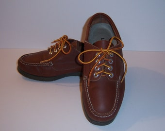 Vintage L.L. Bean Classic Brown Leather Camp Moccasins Boat Shoes Topsiders Loafers 7 Wide