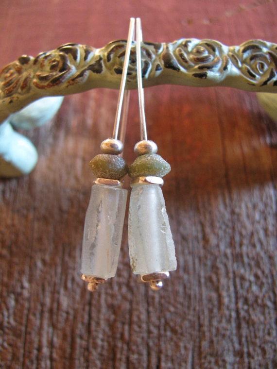 Ancient Old Glass, 610 AD & Sterling Silver Earrings, Roman Empire Glass, 610 AD, Dangle Earrings Sterling Silver Earrings Toniraecreations