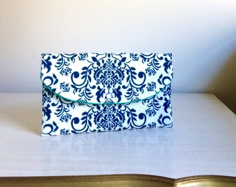 Blue Damask Clutch,something blue,mother of bride,blue damask clutch,bridesmaid gift idea,damask cotton clutch