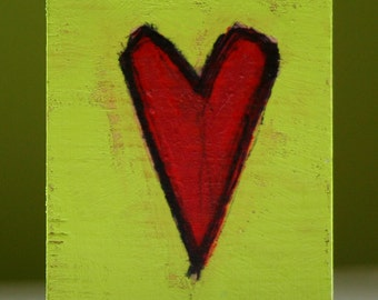 "small heart painting a2n2koon original mini mixed media ""pop heart 4"" red & neon lime green illustration on reclaimed wood block sweet gift"