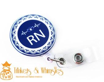 RN   Registered Nurse Navy Retractable Badge Holder