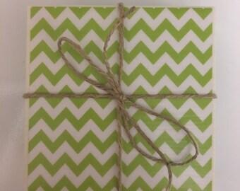 Ceramic Tile Coasters..Lime Green Chevron..Decoupage Coasters..Set of 4..Gift