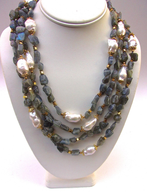 labradorite natural baroque pearl necklace 4 strand. Black Bedroom Furniture Sets. Home Design Ideas