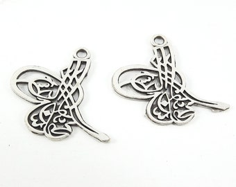 Medium Ottoman Tughra Charms - Tugra - Matte Antique Silver Plated - 2pc