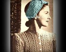 Vintage Turban Pattern - Headband Knitting Pattern - Ear Cover Wrap WINTER Headband - PDF Instant Download Head Wrap Scarf - Digital Pattern
