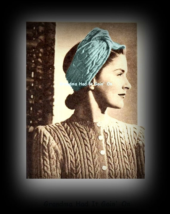 Vintage Turban Pattern Headband Knitting Pattern Ear Cover