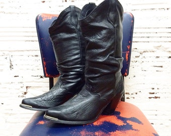 Black Leather Western Boots - Size 9
