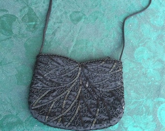 Black beaded purse