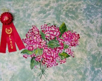 Hand Painted Floor Cloth Pink Hydrangea