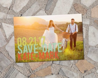Sherbet Photo Save-the-Date Postcard, typography, modern