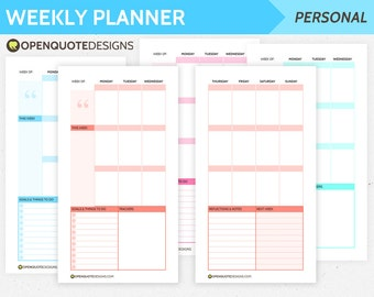 Personal Filofax Personal Weekly Planner Pages, Printable Filofax Inserts, Personal Inserts, Filofax Planner
