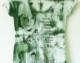 Women's tie dyed and screen printed t shirt M