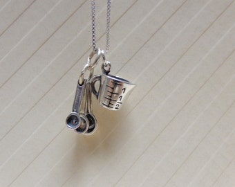 Sterling Silver Baker's Delight Gift Necklace Measuring Cup and Measuring Spoons Necklace