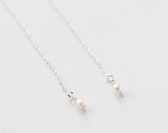 Sterling Silver Pearl Thread Earrings