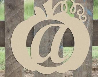 Script Pumpkin Monogram with Vine, Door Hanger, Fall Decor, DIY, Pumpkin