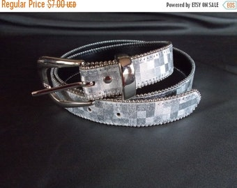 Vintage  Elite Silvertone Checkerboard Belt // M