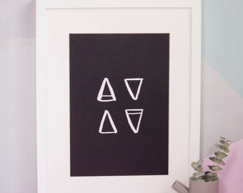 A4 Elements Symbol Print, Wiccan, Monochrome Art