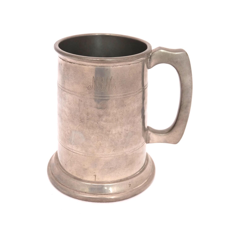 vintage ellware pewter tankard 1950s pint pitcher beer. Black Bedroom Furniture Sets. Home Design Ideas