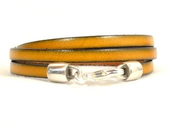 Mustard Yellow Leather Triple Wrap Bracelet with Lobster Clasp (5F-209)