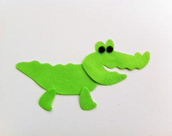 4 DIY/make your own felt alligators/crocodiles/jungle/safari animals. Felt die cuts, sewing projects, applique, baby mobile ornament