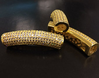 """Pave Connector Bar, CZ, Gold Pave Curved Tube, Diamond Look Connector, 1.5"""" 36mm x 8mm, 5mm Hole, Pave Curved Bar - BMPCB-GD"""