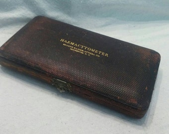 Antique Medical  Haemacytometer Leather Case Bausch And Lomb 1800s Rare Unique