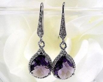 SUMMER SALE Silver Rhinestone Earrings Amethyst Glass Pendant