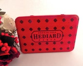 Depuis 1854 Hediard Paris Cookie Tin Red and Black Metal Tea Box Vintage Masstilly Flip Top Storage Container French Gourmet Food Storage