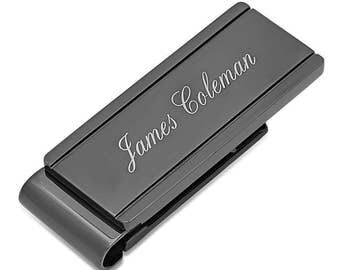 Stainless Steel Black Ice Money Clip- Free Engraving
