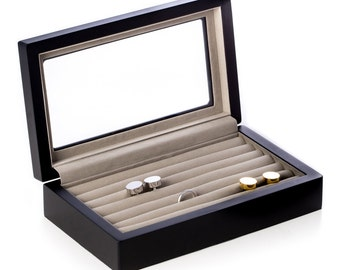 black wood cufflink box with glass top free engraving - Cufflink Box