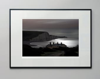 Seven Sisters - a moonlit, long exposure photograph of the iconic white cliffs