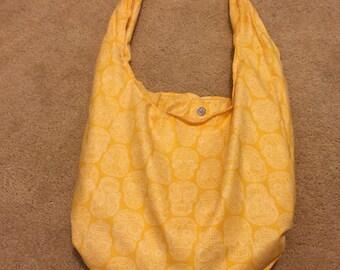 Yellow Sugar Skull Hobo Bag