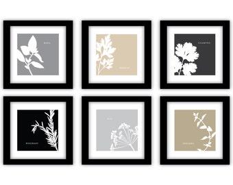 Herb Art Print Set - Neutral Kitchen Decor - Botanical Prints - Culinary Herb Art