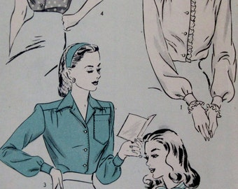 Vintage 1943 Hollywood  Set of Blouses Sewing Pattern #1415  Size 12  Bust  Size 30** Epsteam