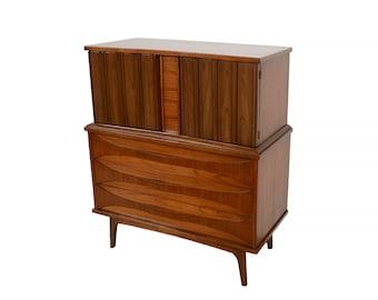 Walnut Credenza Tall Dresser Mid Century Modern