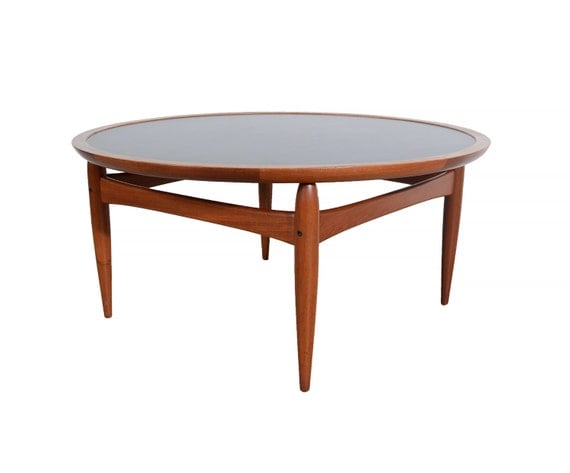 Flip Top Danish Modern Round Teak Coffee Table Teak Tray Table