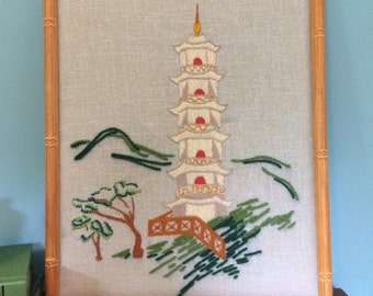 """Vintage Embroidered Japanese Temple Framed Art, 18"""""""