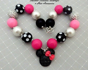ON SALE  Girl's Black and White Polka Dot Minnie Mouse Inspired Chunky Necklace with Pink, Silver, White & Black Beads