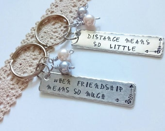 Long distance friendship gift, Best friends gift, Gift for friends, Handstamped gifts for best friends
