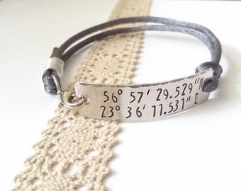 Custom coordinate bracelet, Boyfriend gift, Gifts for men, Coordinate jewelry, Custom coordinates bracelet, personalised men jewelry 4mm