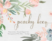 Watercolor Flowers  Clipart Files - High Res Transparent PNG - Peachy Keen Hand Painted Digital Scrapbook elements - Instant download