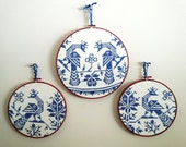 Set of 3 Upcycled Cross Stitch Hoops from Mid Century Vintage Peacock Tablecloth